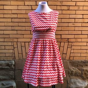 Kate Spade red and white zigzag dress M